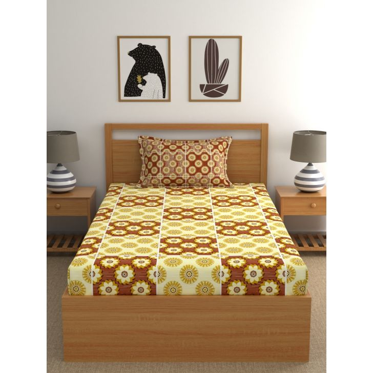 Epic Polycotton Single Bedsheet 147 x 220cms in Yellow Colour