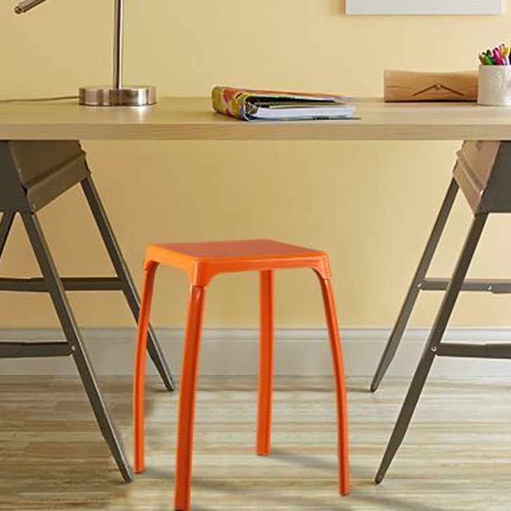 Aldo Pp Plastic Bar Chair and Stool in Orange Colour by HomeTown