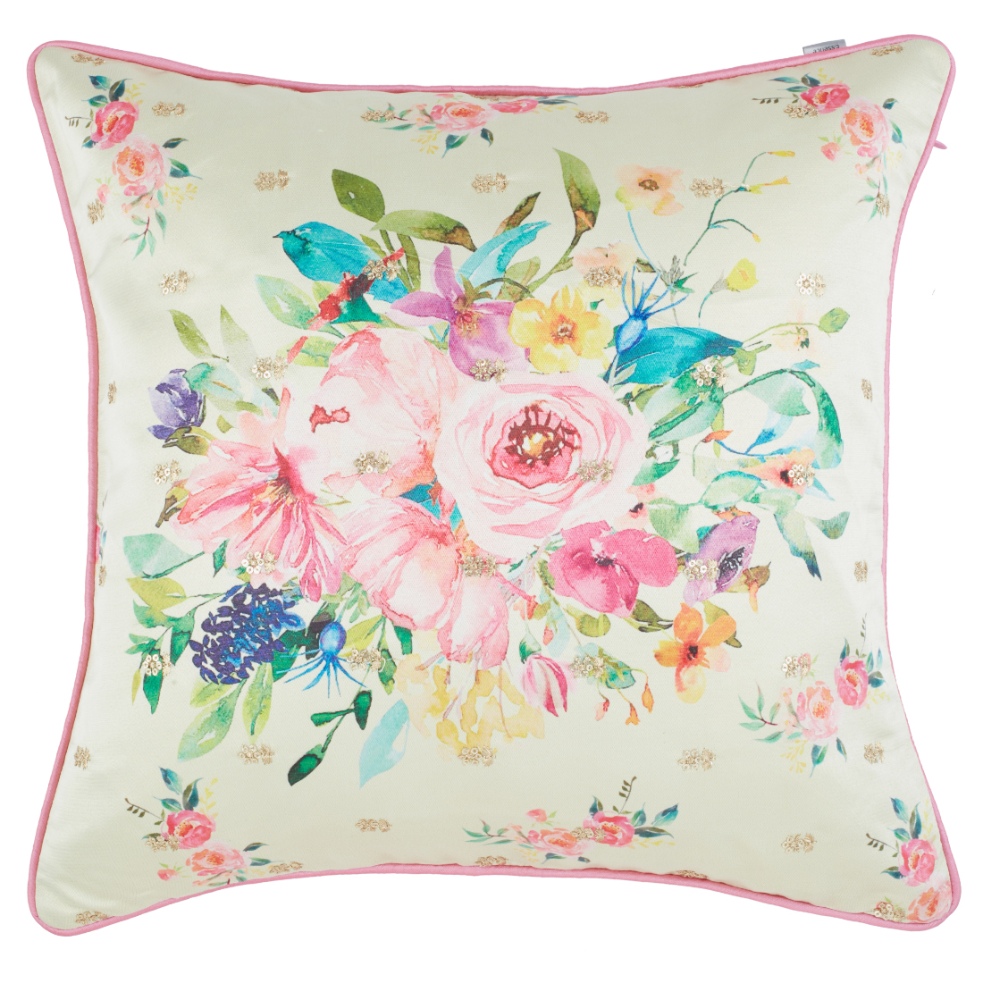 Bouquet Polyester Cushion Covers in White Colour by Living Essence