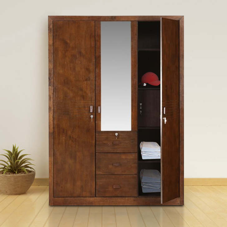 Stanford Solid Wood Three Door Wardrobe in Brown Colour by HomeTown