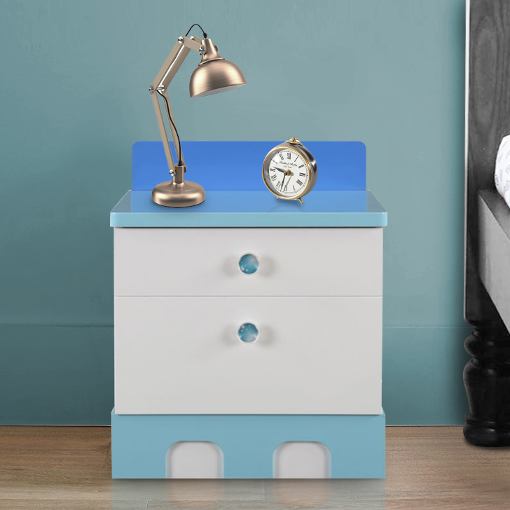 Castle Engineered Wood Bedside Table in Highgloss White & Pink Colour by HomeTown