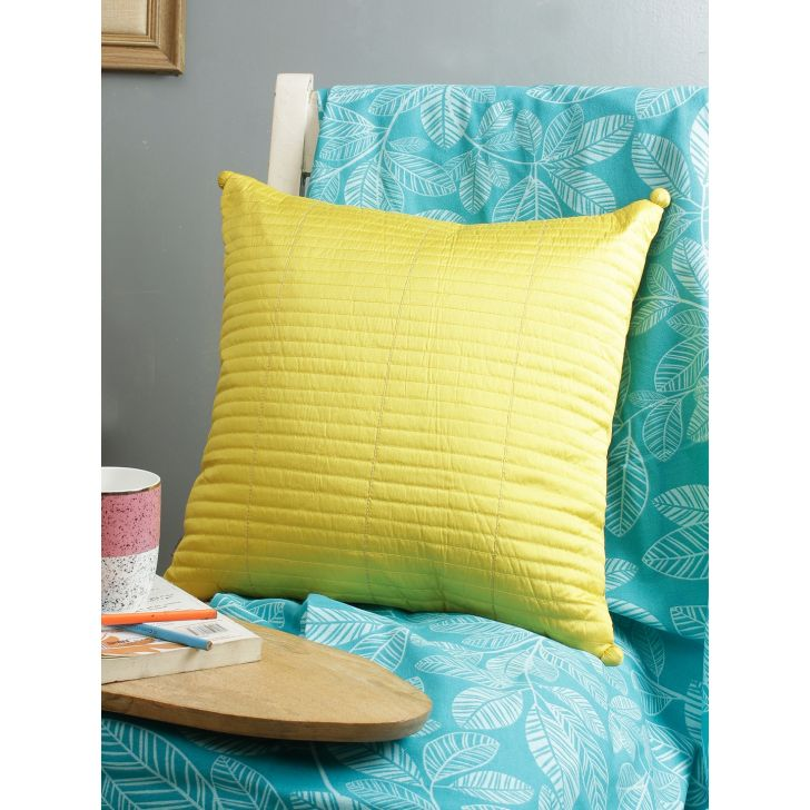 Living Essence Polyester Cushion Cover in Mustard Colour by Living Essence