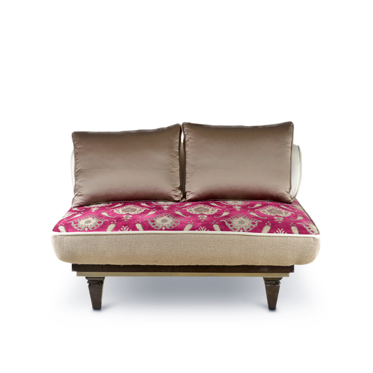Istanbul Fabric Two Seater Sofa in Brown Colour by HomeTown