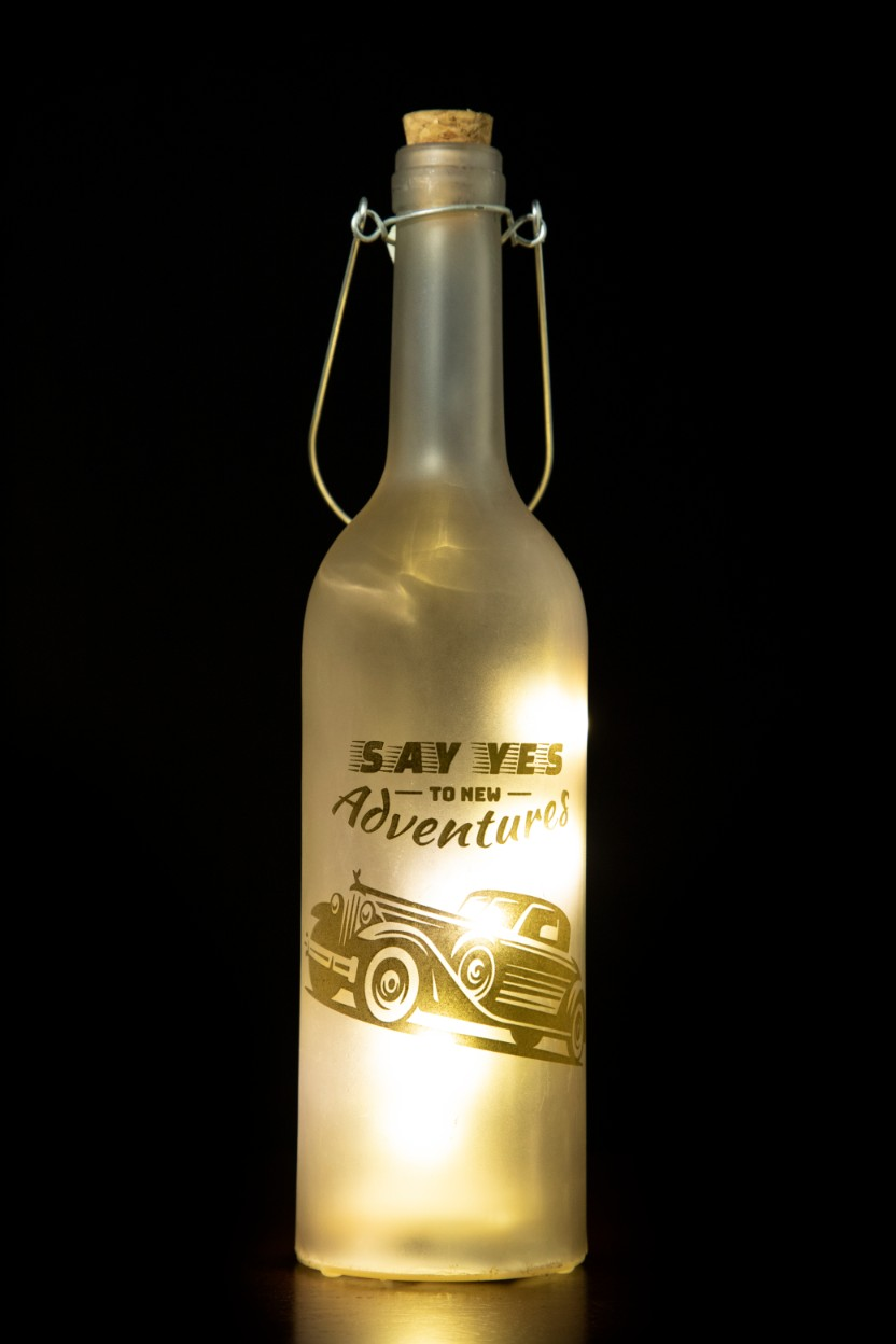Venus Camera Car Bottle Glass Accent Lighting in Grey Colour by Living Essence