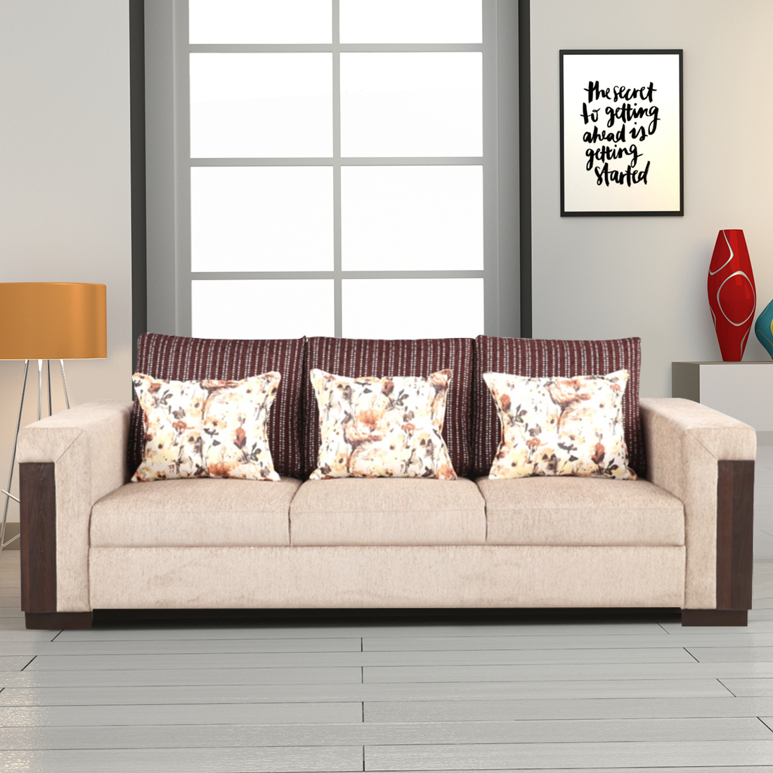 Amazon Fabric Three Seater Sofa in Beige Colour by HomeTown