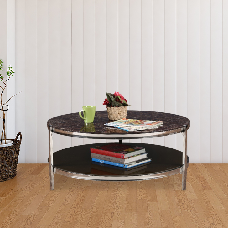 Troy Chrome Steel Center Table in Brown Colour by HomeTown