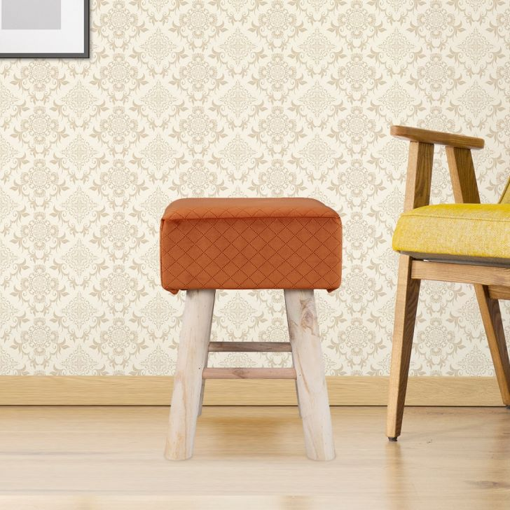 Ella Solid Wood Ottoman in Rust Colour by HomeTown