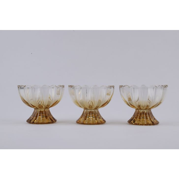 LE Gold Ice Cream Bowls Set of 6 Glass Serving Bowls in Transparent & Gold Colour by Living Essence