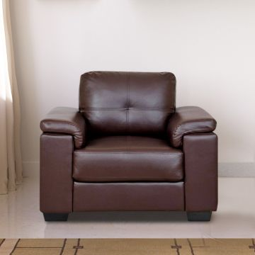Norman Leather Fabric Three Seater Sofa in Brown Colour by HomeTown