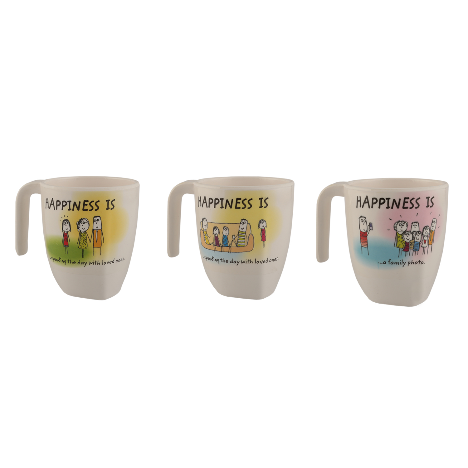 HAPPINESS SYMPHONY MUG L - Rad Assrt Food Grade Melamine Glasses & Tumblers in Multicolor Colour by Servewell