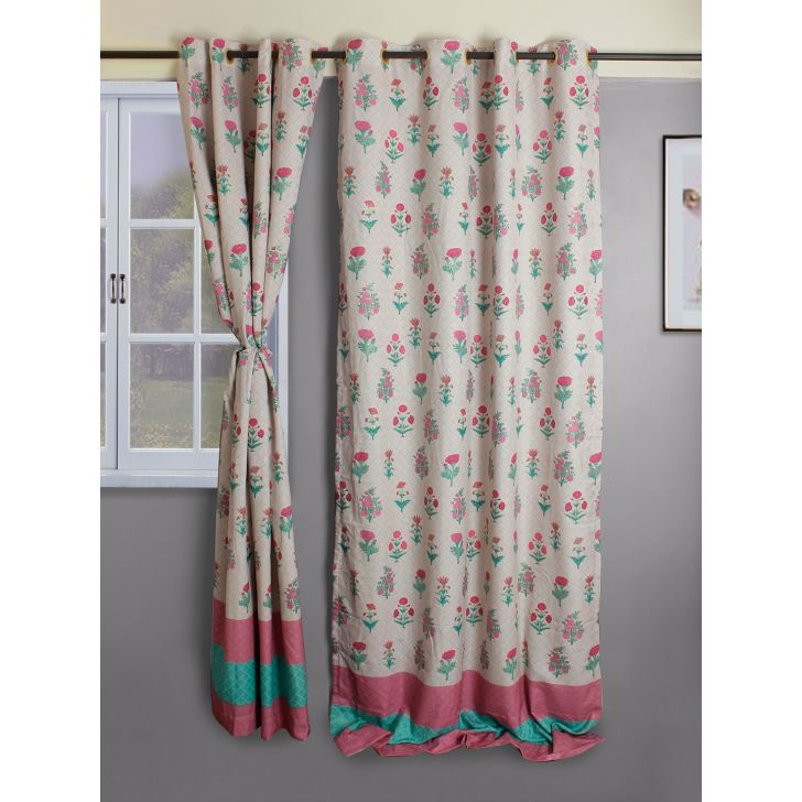 Set of 2 XL Butta Polyester Window Curtains in Rose Colour by Living Essence