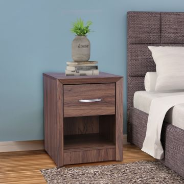Side Table Strak.Stark Engineered Wood Bedside Table In Walnut Colour By Hometown
