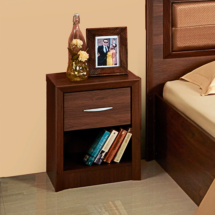 Stark Engineered Wood Bedside Table in Walnut Colour by HomeTown