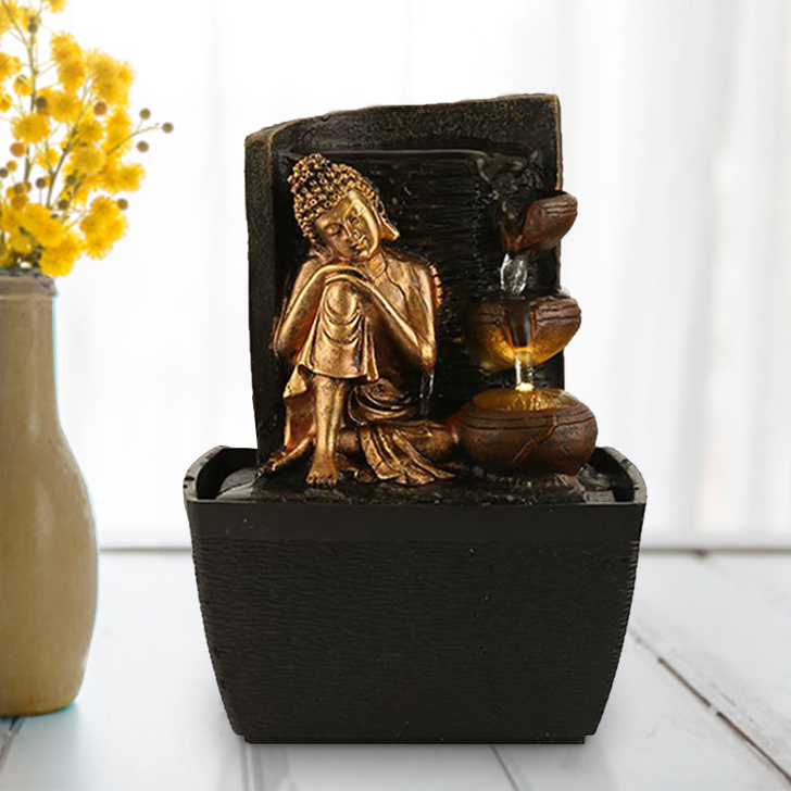 Impression Small Budha with Fountain Polyresin Small Fountains in Brown/Gold Colour by Living Essence