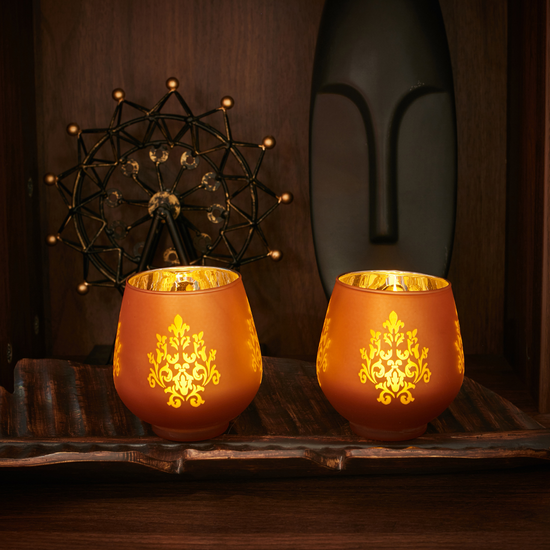 Zahara Set Of 2 Flower Etched Glass Candle Holders in ORANGE Colour by Living Essence
