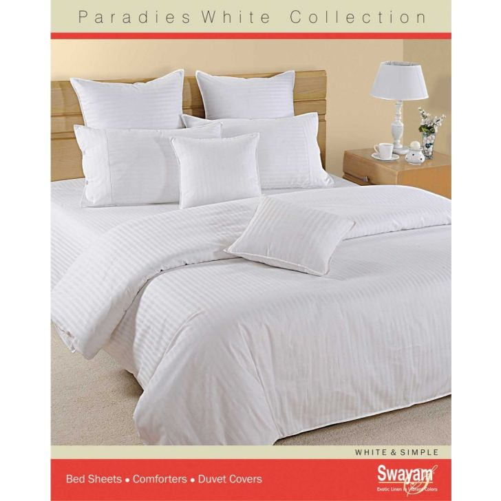 Pure Moon Cotton King Bed Sheet 274X274 CM 300 TC in White Colour