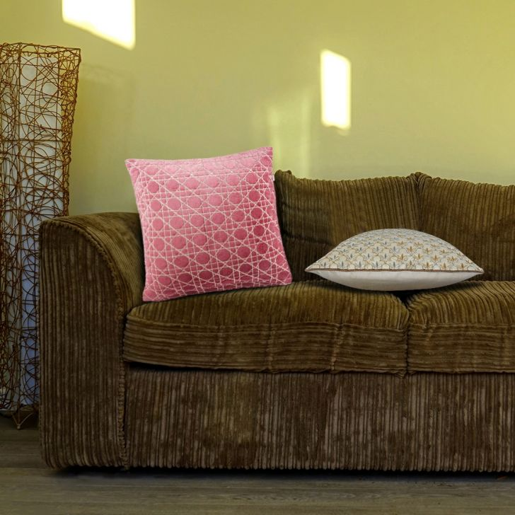 Chianti Polyester Cushion Covers in Rose Colour by Living Essence
