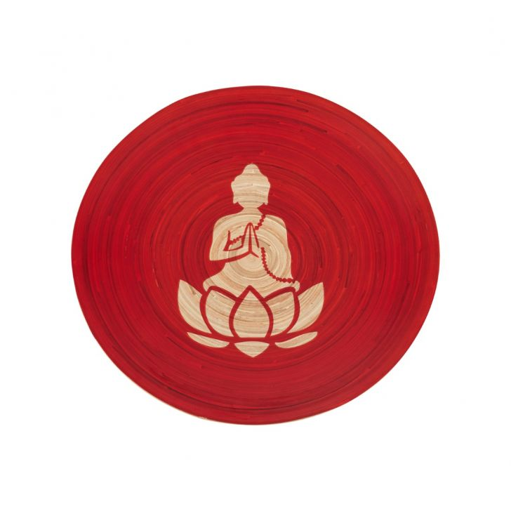 Wall Decorative Plate With Buddha Print Orange Bamboo Vases in Orange Colour by Living Essence