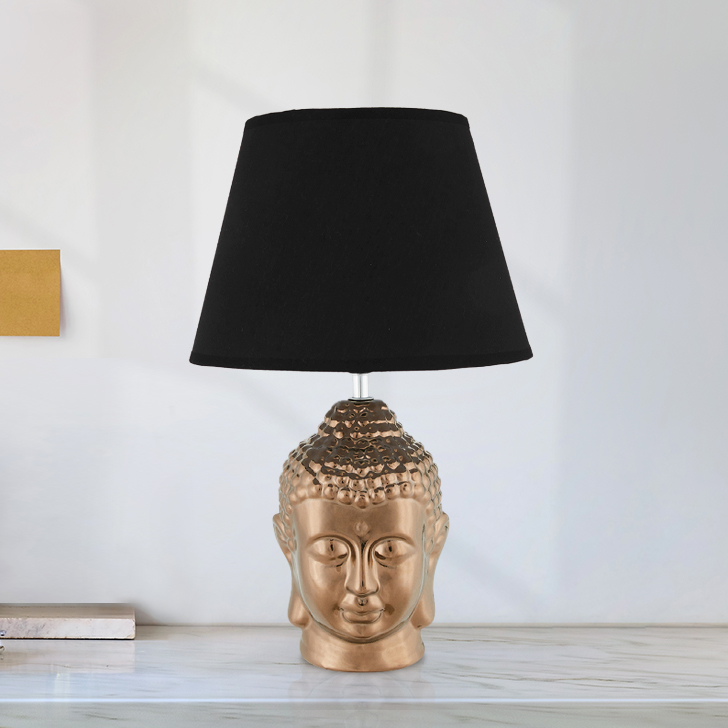 Nirvana Buddha Lamps Small Black Ceramic Table & Floor Lamps in Black Colour by Living Essence