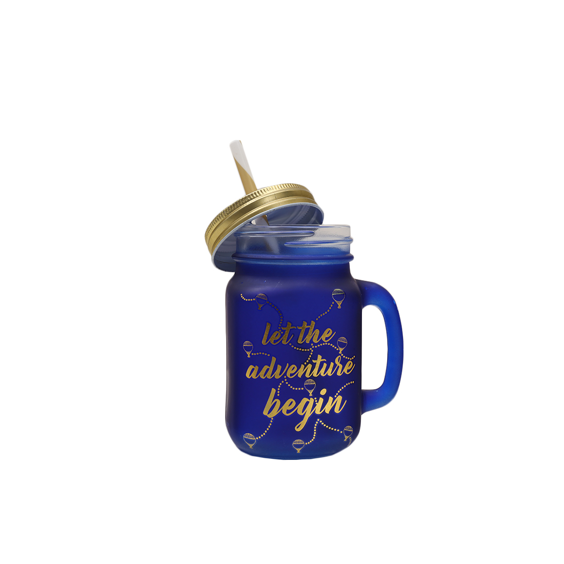 Love To Travel Golden Ultra Marine Mason Jar Glass Mason Jars in Blue & Gold Colour by HomeTown
