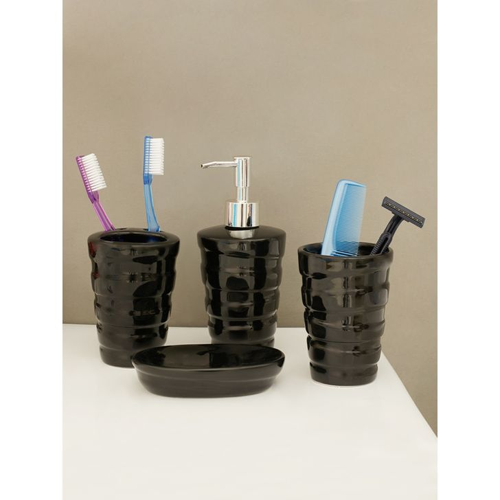 Set of 4 Ceramic Bath Accessories in Multi Colour by Living Essence