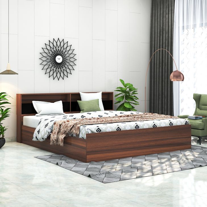 Alex Plus Engineered Wood Queen Bed with Box Storage in Walnut Colour