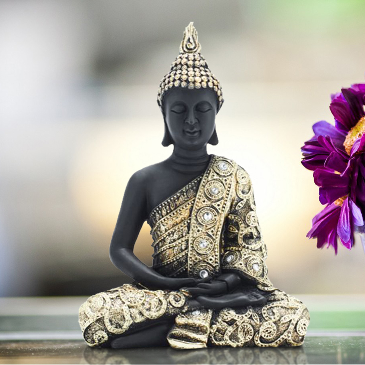 Fio Embellished Buddha Small Promo Polyresin Idols in Black & Gold Colour by Living Essence