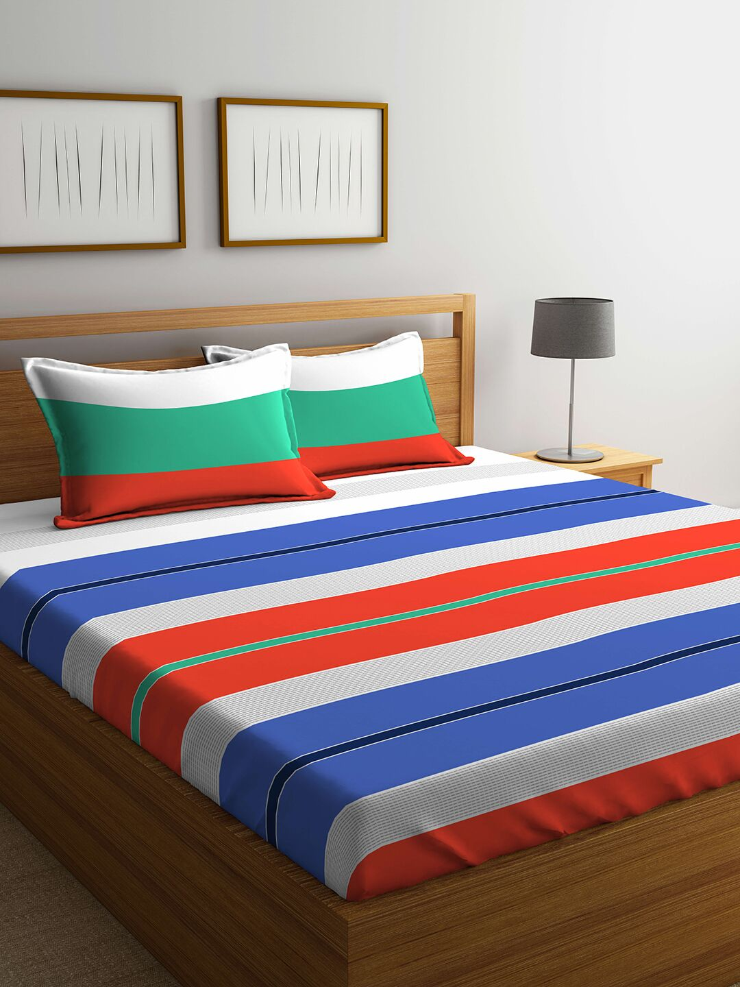 Verve Cotton Mix Bed Sheets in Multicolour Colour by Portico