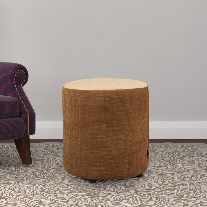Bolster Fabric Ottoman in Beige & Brown Colour by HomeTown