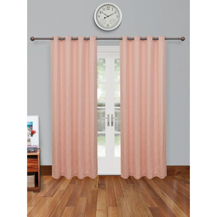 Fiesta Jacquard Set of 2 Cotton Door Curtains in Blush Colour by Living Essence