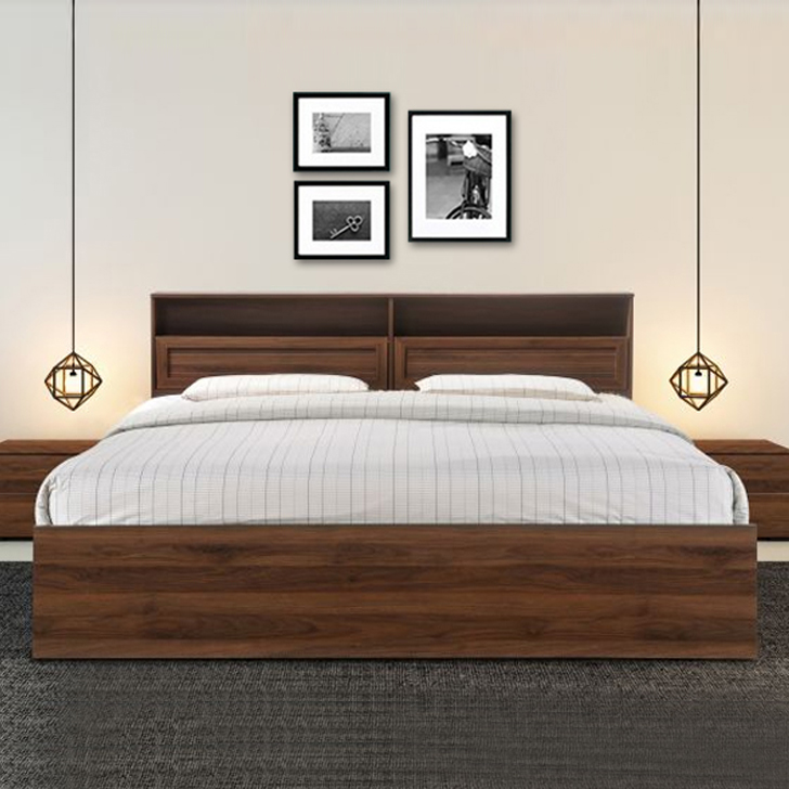 Alyssa Engineered Wood Box Storage King Size Bed in Wenge Colour by HomeTown