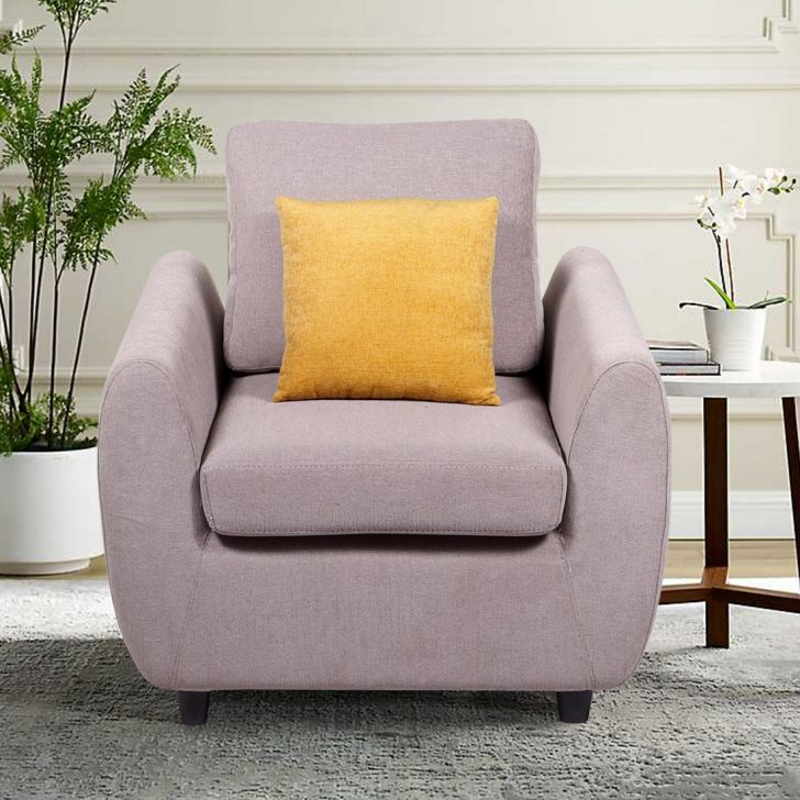 Wind Solid Wood Single Seater Sofa in Grey Colour by HomeTown