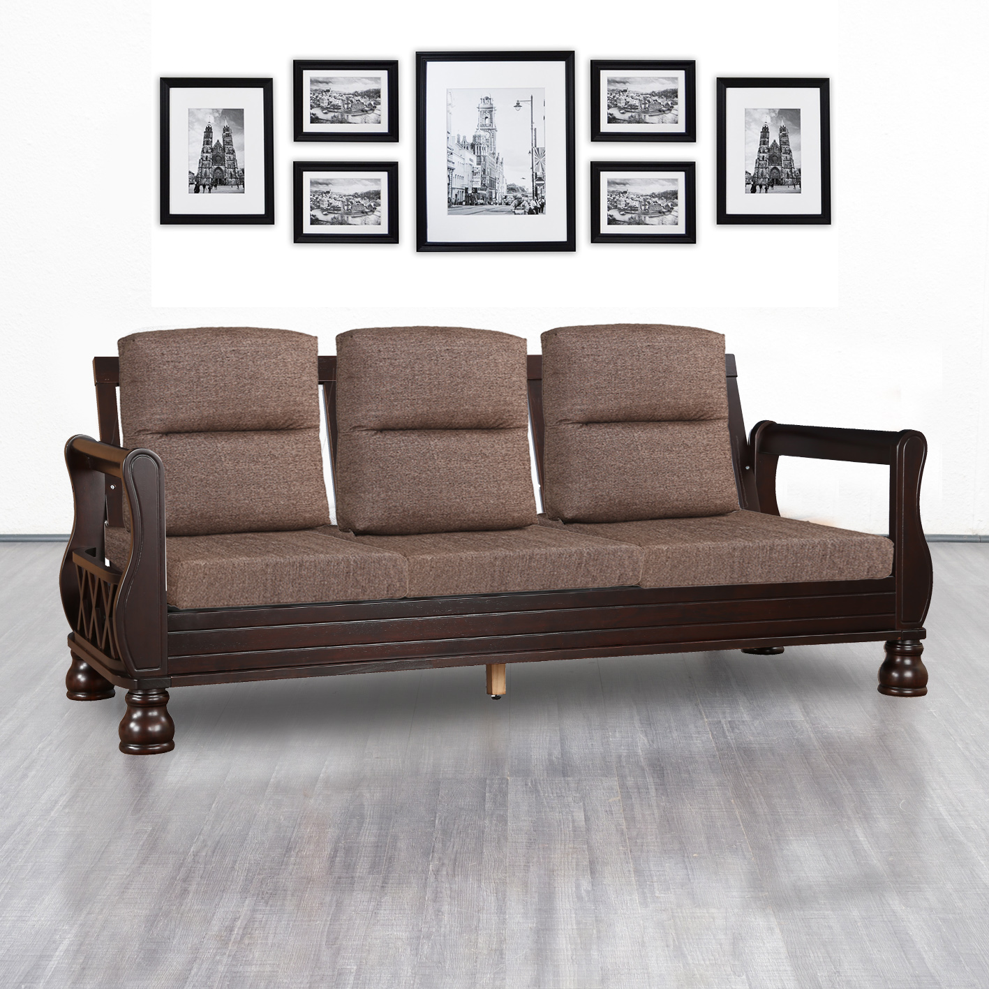 Clyde Solid Wood Three Seater Sofa With Cushion in Dark Cappuccino Colour by HomeTown