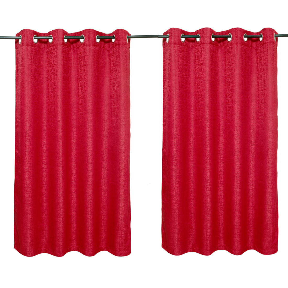 Nora Solid set of 2 Polyester Door Curtains in Maroon Colour by Living Essence