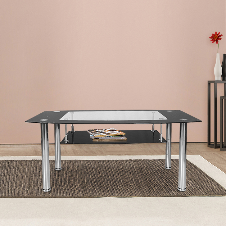 Ben Glass Center Table in Black Colour by HomeTown
