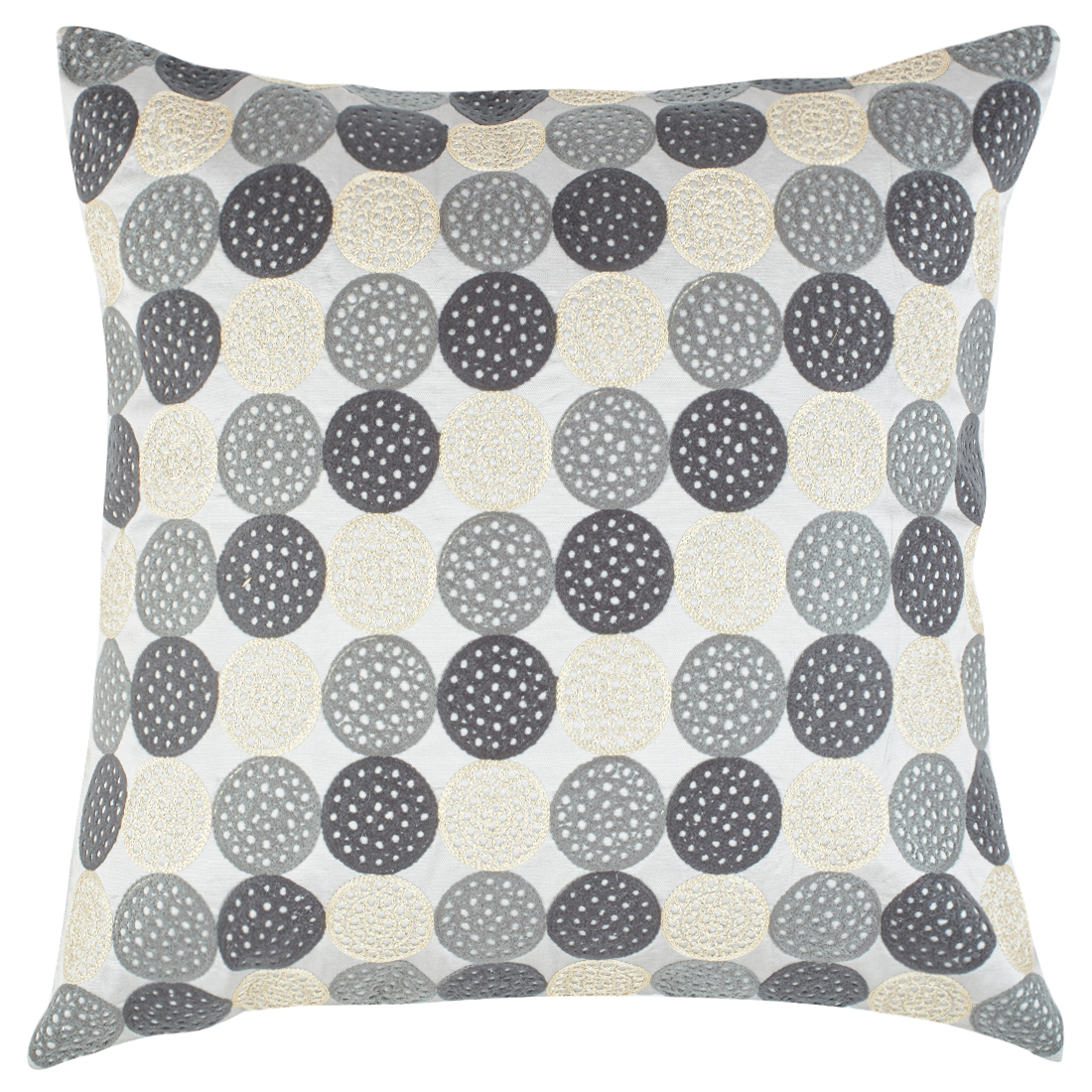 Modern Circle Polyester Cushion Covers in Grey Colour by Living Essence