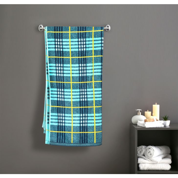 Yarn Dyed Check Cotton Bath Towels in Blue Colour by Dreamline