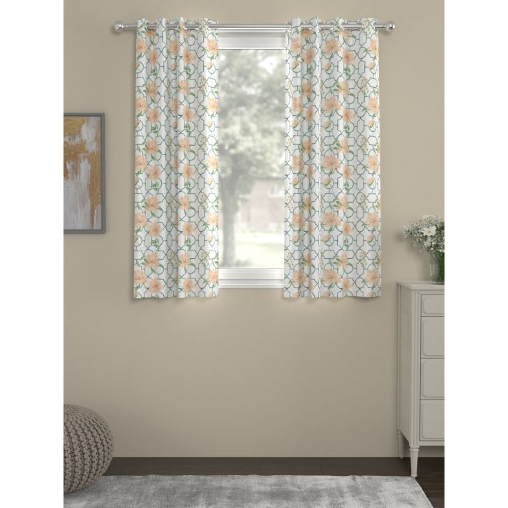 Digi Print Window Curtain In Orange Color By Rosara Home