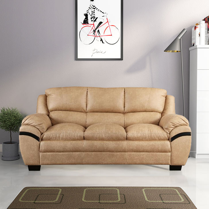 Eleanor Fabric Three Seater sofa in Beige Colour by HomeTown