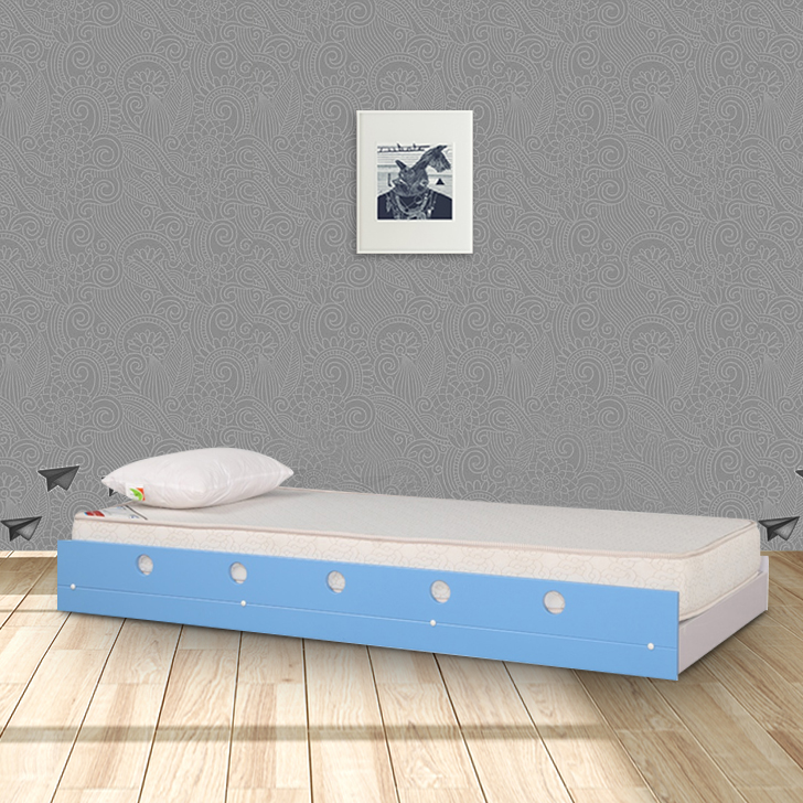 Jerry Engineered Wood Single Bed in Blue Colour by HomeTown
