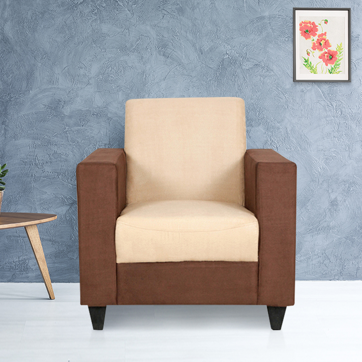 Ciaz Fabric Single Seater Sofa in Coffee & Beige Colour by HomeTown