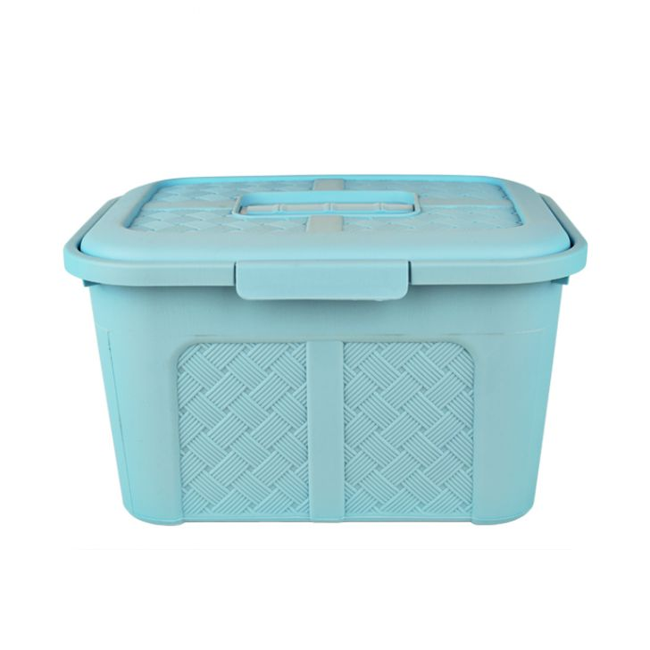 Large teal  container With Lid 13lt Plastic Kitchen Storage in Teal Colour by Living Essence