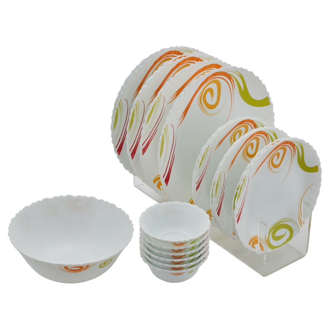 Feast Symphony Flt 19Pcs Set Opalware Dinner Sets in White Colour by Living Essence