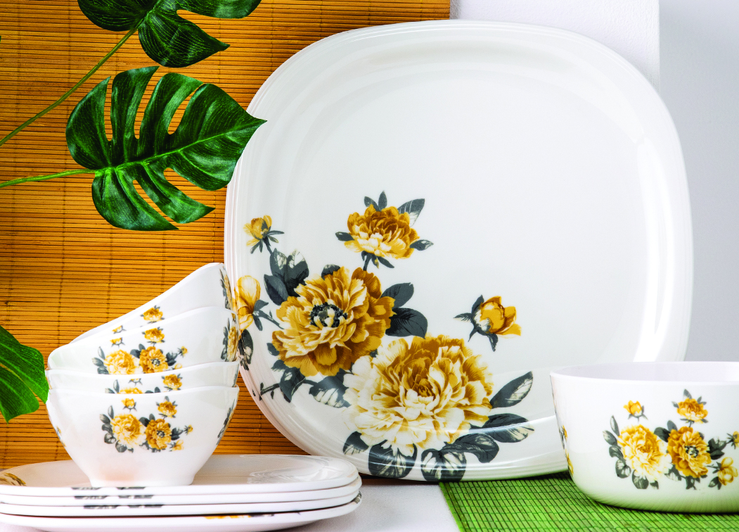 LE BLOOM SQ RND 14 PCS DIN SET Dinner Sets in Yellow & grey Colour by Living Essence