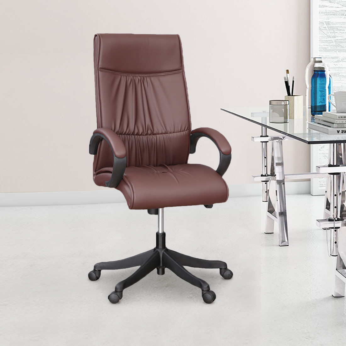 Elanza High Back Office Chair in Brown Colour by HomeTown