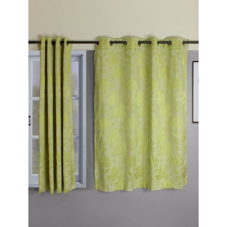 Setof 2 Amour Jacquard Poly Cotton Window Curtains in Citron Colour by Living Essence