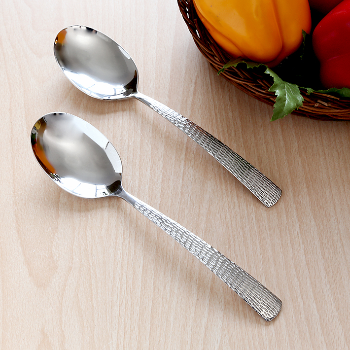 fns Madrid Serving Spoon Set of Two Pieces Stainless steel Kitchen Tools in Silver Colour by fns