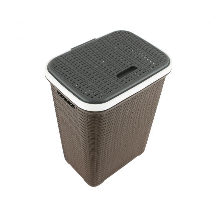 Laundry Basket 50 Ltr Plastic Laundry Basket in Grey Colour by Living Essence