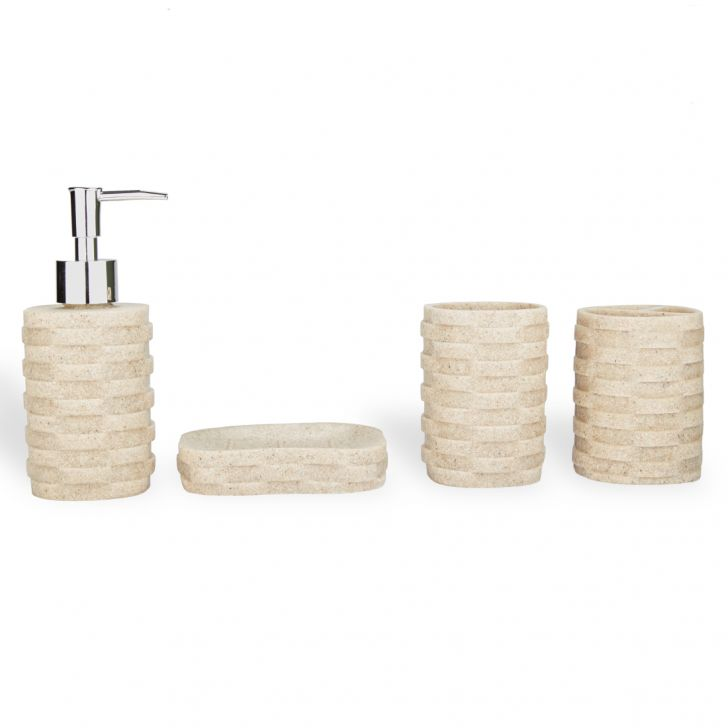 Bath Accessories Set of 4 Pieces Mix Colors Ceramic Soap Dispensers in Ceramic Colour by Living Essence