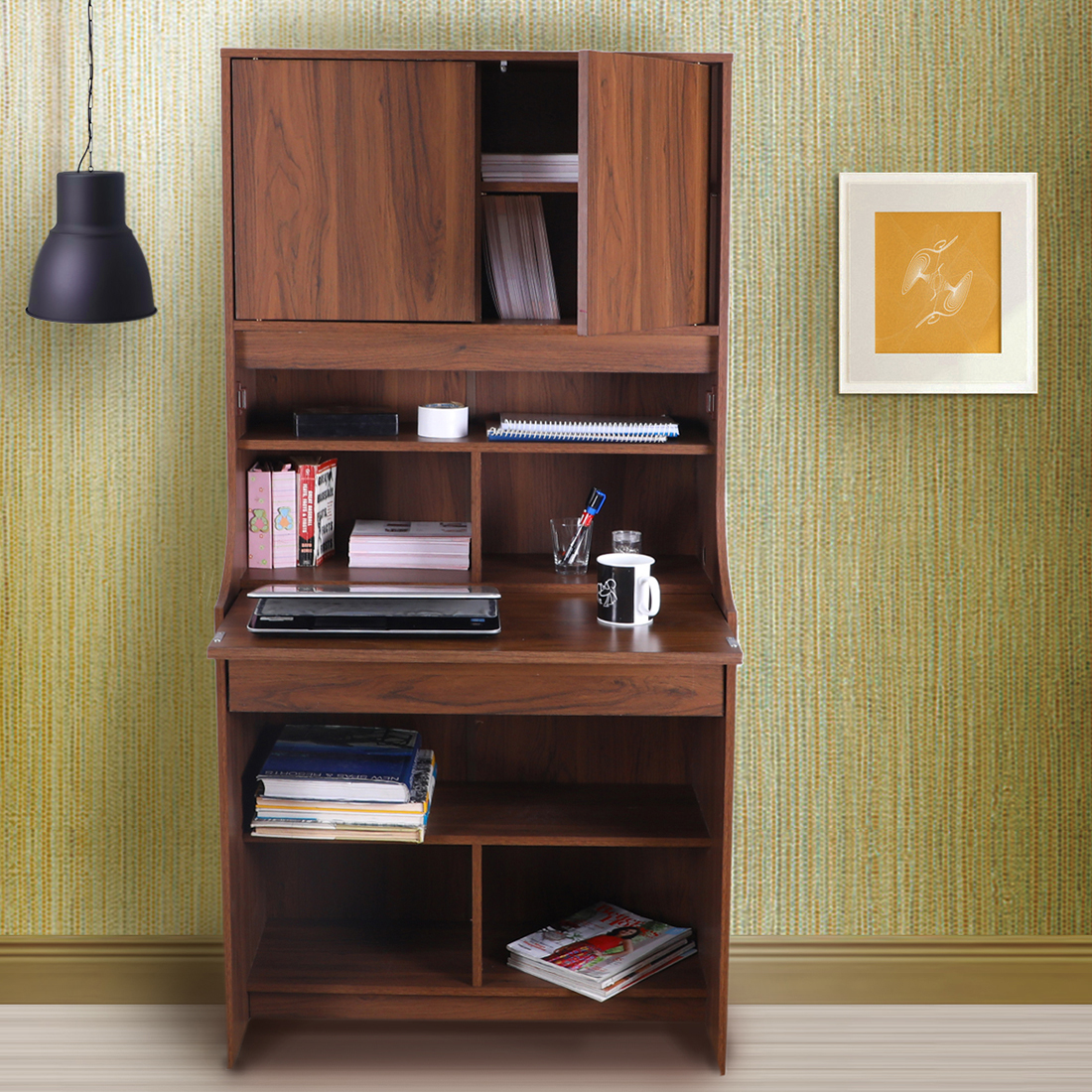 Flicker Engineered Wood Study Table in Walnut Colour by HomeTown